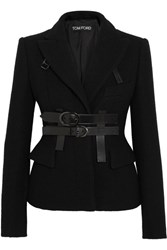 Tom Ford Leather Trimmed Boiled Wool Blazer Black