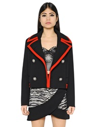 Fausto Puglisi Double Breasted Heavy Wool Cady Peacoat Black Red
