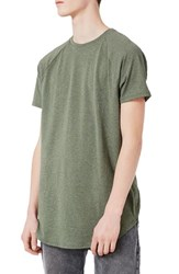 Topman Men's Longline T Shirt With Side Zips Olive
