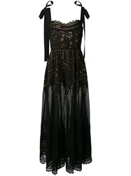 Elie Saab Sheer Lace Dress Black