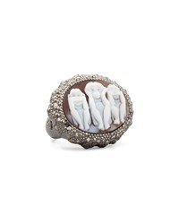Three Wise Monkeys See No Evil Diamond Trim Cameo Ring 0.15Ct Amedeo White