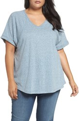 Sejour Plus Size Women's Heathered V Neck Tee Chambray Blue