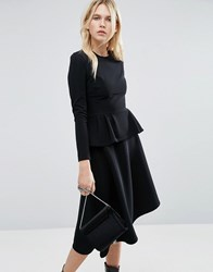 Asos Skater Midi Dress With Peplum In Structured Rib Black