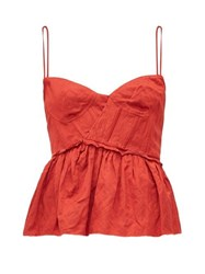 Brock Collection Peplum Hem Satin Bustier Top Red