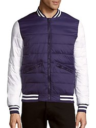 Members Only Zip Front Colorblock Varsity Jacket China Blue