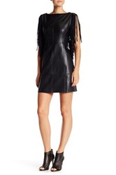 Romeo And Juliet Couture Faux Leather Fringe Dress Black