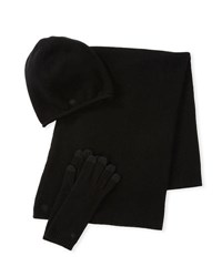 Ugg Luxe Wool Blend Smart Gloves Beanie And Scarf Set Black