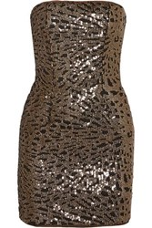 Haney Strapless Sequined Tulle Mini Dress Gold