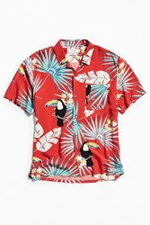 Urban Outfitters Uo Electric Toucan Rayon Short Sleeve Button Down Shirt Red