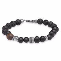 Platadepalo Lava And Buffalo Mens Bracelet Black