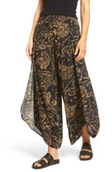 Sun And Shadow Women's Tulip Hem Wide Leg Pants Black Desert Paisley