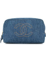 Chanel Vintage Cosmetic Vanity Pouch Blue