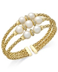 Macy's Cultured Freshwater Pearl 7 9Mm And Cubic Zirconia Openwork Bangle Bracelet In 14K Gold Plated Sterling Silver White