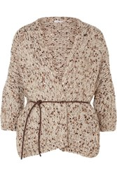 Brunello Cucinelli Belted Sequined Chunky Knit Cardigan Beige