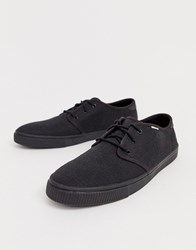 Toms Lace Up Plimsolls In Black Canvas