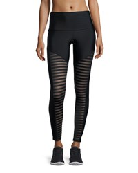 Onzie Fierce Mesh Stripe Leggings Black Black Pattern