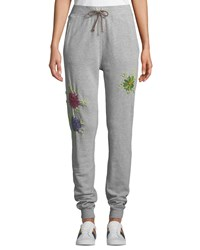 Etienne Marcel Floral Embroidered Drawstring Jogger Sweatpants Gray