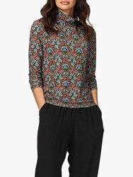Brora Liberty Floral Polo Neck Jersey Top Multi
