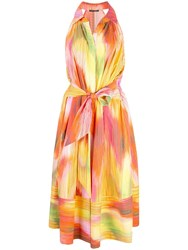 Josie Natori Abstract Print Midi Dress Multicolour