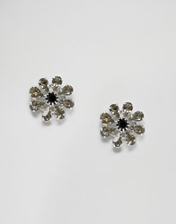 Krystal Swarovski Star Burst Earrings Blackdiamond Jet