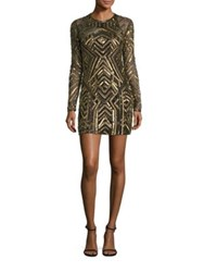 Parker Black Isabelle Embellished Sheath Dress Gold