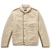 J.Crew Nordic Shawl Collar Grosgrain Trimmed Fleece Jacket Beige