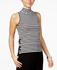 The Edit By Seventeen Juniors' Striped Lace Up Tank Top Black White