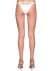 Dsquared Printed Lycra Bikini Bottoms White