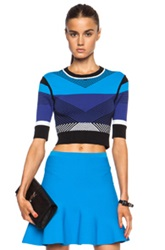 Ohne Titel Chevron Crop Rayon Blend Pullover In Blue Stripes