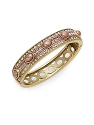 Heidi Daus Oh So Oval Swarovski Crystal Bangle Goldtone Pink