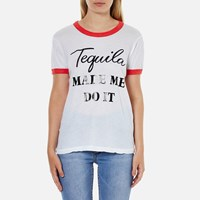 Wildfox Couture Women's Tequila Hour Vintage Ringer T Shirt Clean White Poppy Red