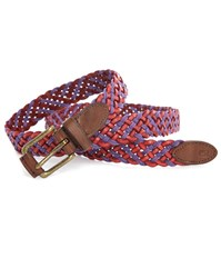 Scotch And Soda Mixed Red And Purple Woven Leather And Rope Belt