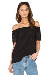 1.State Off Shoulder Flounce Sleeve Blouse Black