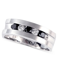 Effy Collection Gento By Effy Men's Black Diamond And White Diamond Band 1 2 Ct. T.W. In 14K White Gold