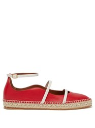 Malone Souliers Selina Waved Edge Leather Espadrilles Red
