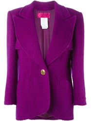 Christian Lacroix Vintage Single Gold Tone Button Fastening Jacket Pink And Purple