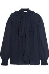 See By Chloe Pussy Bow Chiffon Blouse Navy