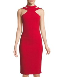 Bebe Halter Neck Bodycon Dress Red