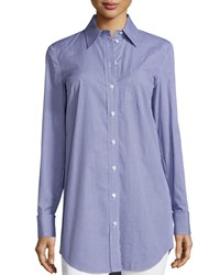Michael Kors French Cuff Button Front Shirt Indigo White