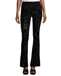 Romeo And Juliet Couture Floral Print Velour Bell Bottom Pants Black