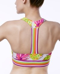 Trina Turk Pineapple Print Low Impact Racerback Sports Bra Multi