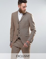 Heart And Dagger Skinny Blazer In Herringbone Tweed Stone
