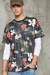 Forever 21 Tropical Floral Print Tee Black Multi