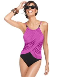 Magicsuit Draped Tummy Control One Piece Swimsuit Women's Swimsuit Orchid Purple
