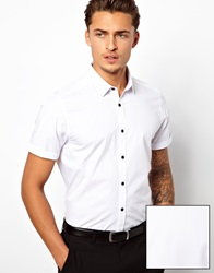 Asos Smart Shirt In Short Sleeve With Contrast Buttons In Cotton White