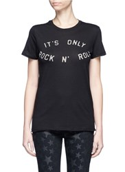 Zoe Karssen 'Rock 'N Roll' Slogan Print Cotton Modal T Shirt Black