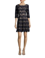 Eliza J Petite Lace Boatneck Fit And Flare Dress