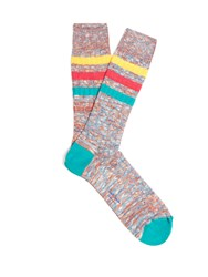Paul Smith Ribbed Knit Cotton Blend Socks Pink Multi