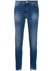 Federica Tosi Frayed Cropped Skinny Jeans Blue