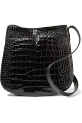 Vince Croc Effect Leather Shoulder Bag Black